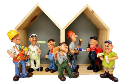 Construction Crew clay figures in wood house
